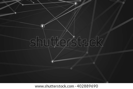 Abstract polygonal space low poly dark background with connecting dots and lines. Connection structure.