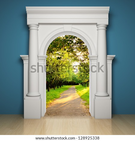 Abstract portal to the freedom - stock photo