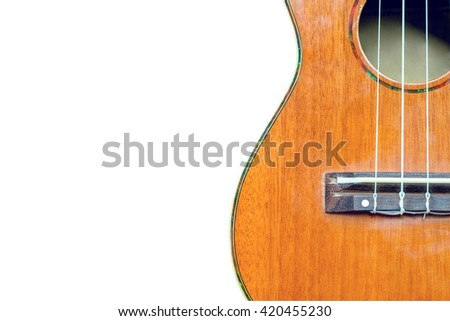 abstract portrait of a ukulele isolated on white background. with clipping path  - stock photo