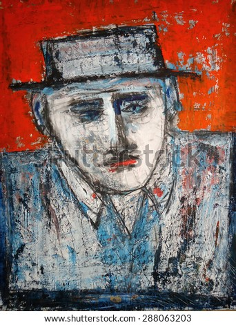 abstract portrait of man with a hat