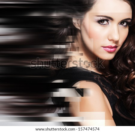 Abstract portrait of young and beautiful woman - stock photo