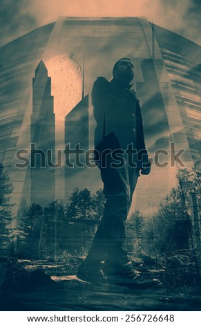 abstract post-apocalyptic double exposure man portrait over the ruins and city building silhouette- elements of this image are furnished by NASA