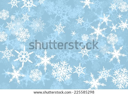 Abstract Powder Blue Snowflakes Background - Raster Version