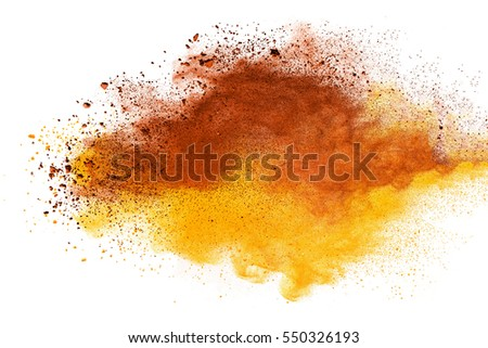 abstract powder splatted on white background,Freeze motion of color powder exploding/throwing color powder, multicolor glitter texture