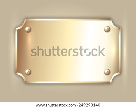 abstract precious metal gold award plate with curved corners, screws  and place for text - stock photo