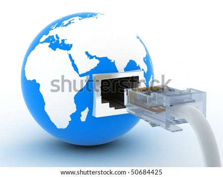 abstract presentation of the internet on earth - stock photo