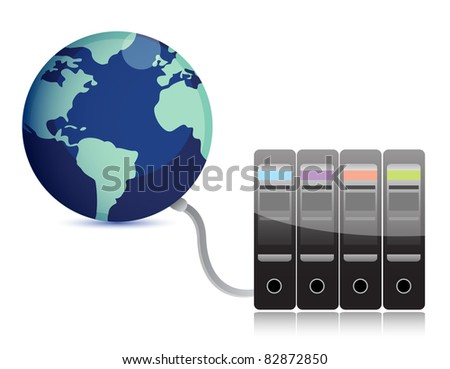 abstract presentation of the server on earth - stock photo