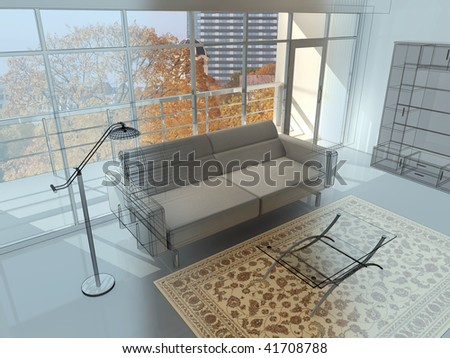 Abstract private apartment 3d rendering. Photo behind a window my own. - stock photo
