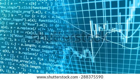 Abstract programming developer computer script source code and financial graph background. Shallow depth of field selective focus effect. Code text and finance chart written,created entirely by myself - stock photo