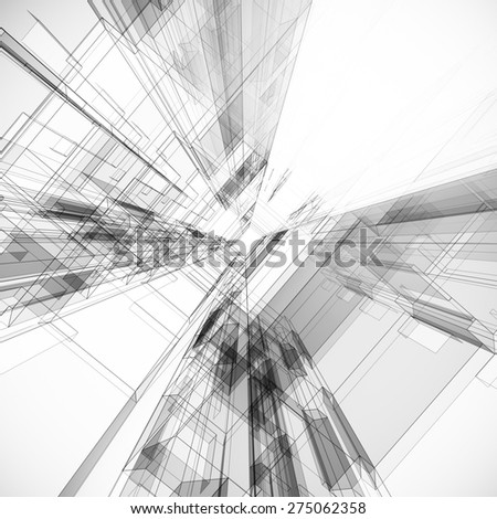 Abstract project. Architecture design and 3d model my own - stock photo