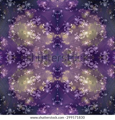 Abstract psychedelic mirroring regular symmetrical seamless watercolor digitally rendered sidebar - stock photo