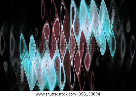 Abstract psychedelic waves on black background. Computer-generated fractal in blue, brown and grey colors. - stock photo