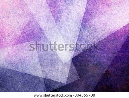 abstract purple and pink triangle and rectangle shapes on dark purple and black background, artsy random pattern layout with white transparent shapes with brush stroke texture - stock photo