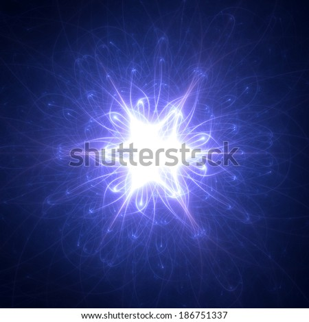 Abstract purple beaming detailed star with six corners against dark background