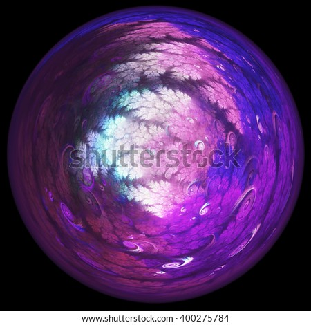 Abstract purple fractal sphere, digital artwork for creative graphic design - stock photo