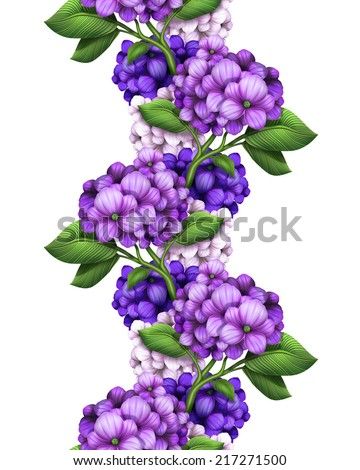 abstract purple hydrangea vertical garland, seamless floral border, flowers illustration isolated on white background - stock photo