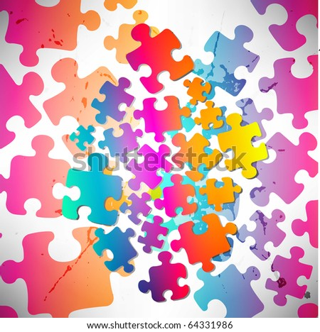 Abstract puzzle background. Raster version