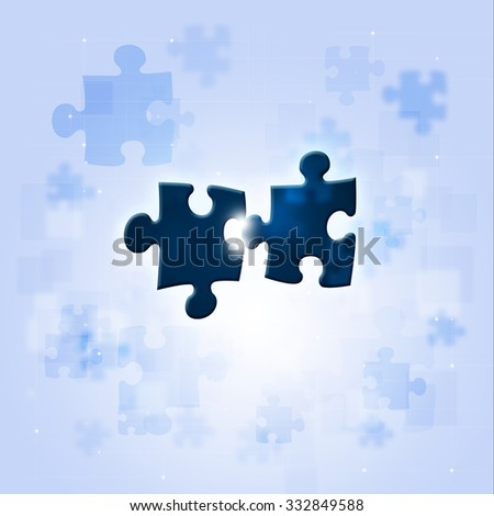 abstract puzzle connections concept bright blue business background
