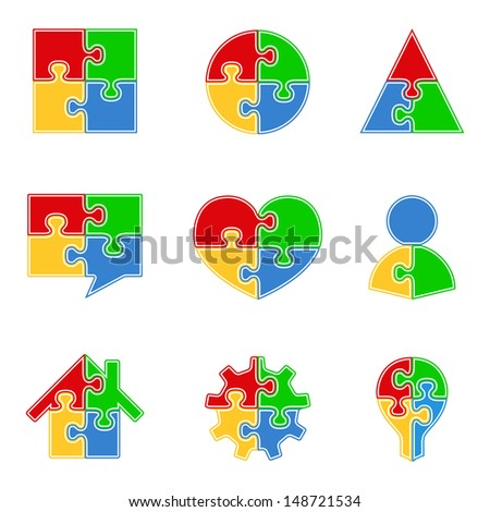 Abstract puzzle objects - stock photo