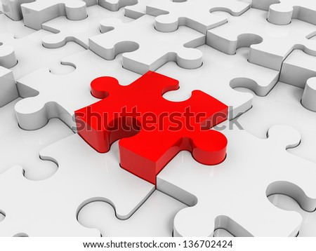 Abstract puzzle pieces background. 3D illustration. - stock photo