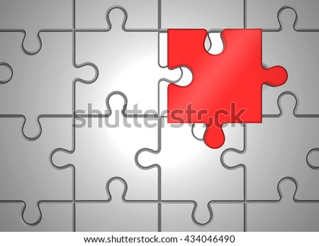 Abstract puzzle pieces. 3D rendered illustration - stock photo