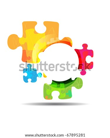 abstract puzzle shape colorful design. Raster image - stock photo