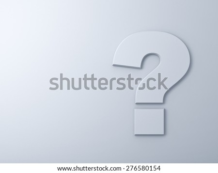 Abstract question mark on white wall background