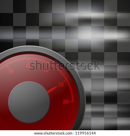 Abstract racing checkered background with speedometer. Raster version of the loaded vector.
