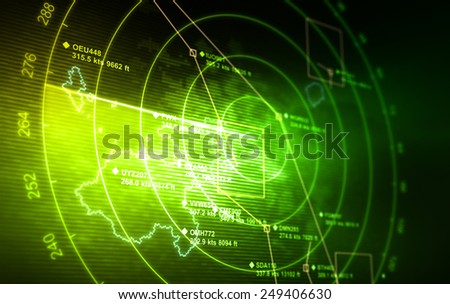 Abstract radar with targets in action. - stock photo