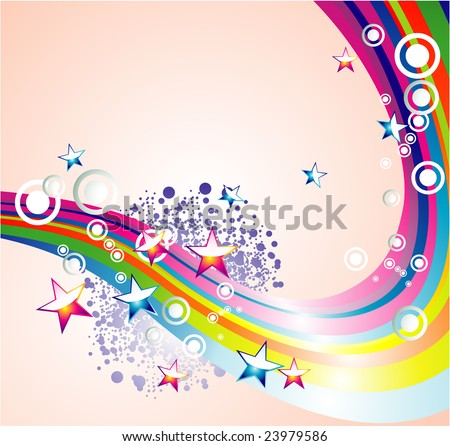 Abstract rainbow and star background