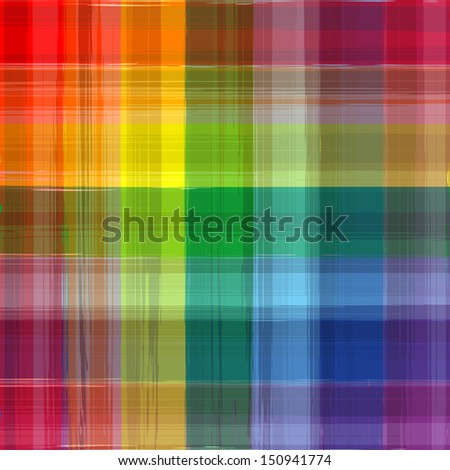 Abstract rainbow color drawing plaid background - stock photo