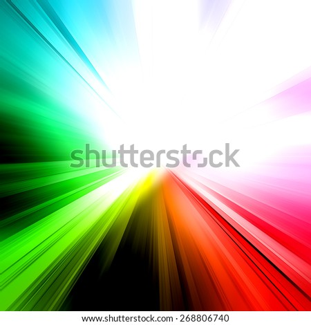 Abstract rainbow ray. Architecture design and model my own - stock photo