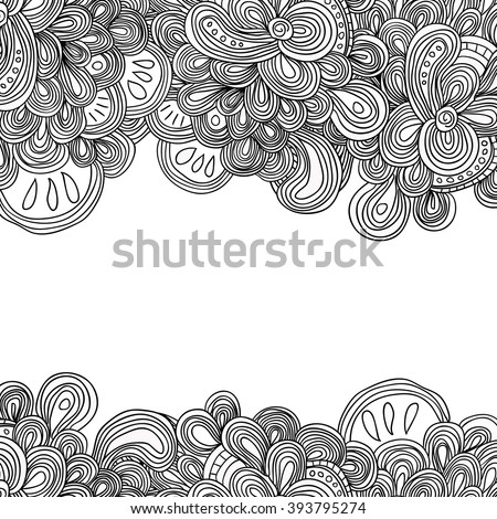Abstract raster decorative ethnic mandala sketchy pattern. Adult coloring book. Zentangle style frame. Doodle art decorative border. - stock photo