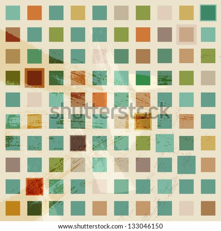 Abstract raster retro square mosaic pattern background - stock photo