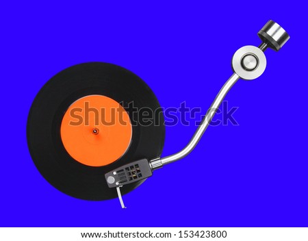 Abstract record player part isolated on blue - stock photo