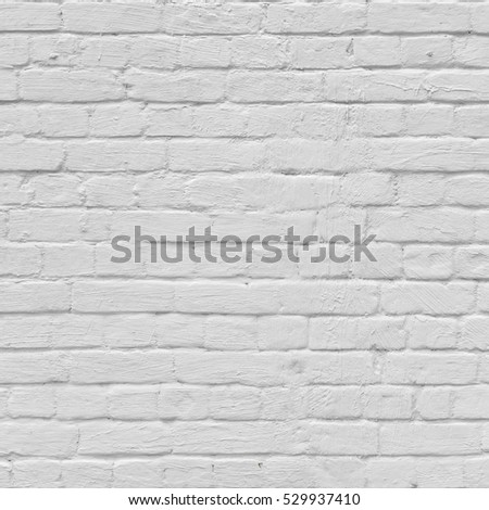 Abstract Rectangular White Texture. White Washed Old Brick Wall With Stained And Shabby Uneven Plaster. Painted White Grey Brickwall Background. Home House Room Interior Design. Square Wallpaper