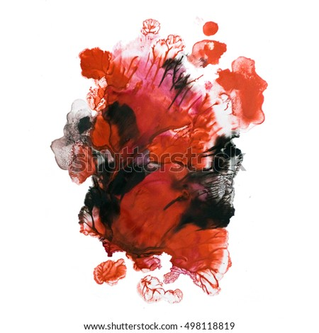 Abstract Red And Black Watercolor Background Monotype Effect Colorful Texture For Your Design