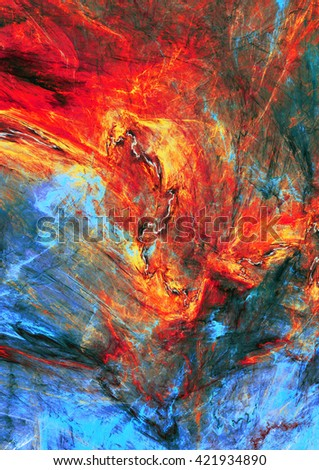 Abstract red and blue painting texture. Molten lava liquid background. Modern futuristic vibrant fiery pattern. Bright flame dynamic background. Fractal artwork for creative graphic design - stock photo