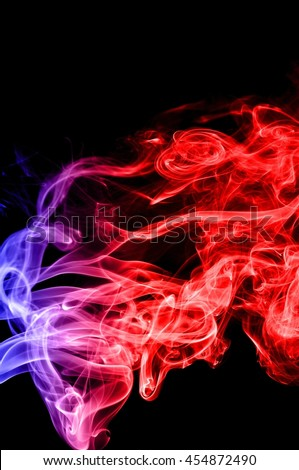 Abstract red and blue smoke on black background, smoke background,colorful ink background,red and Blue fire,beautiful color smoke, Movement of smoke