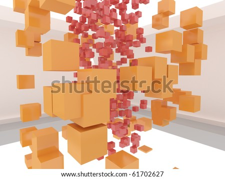 Abstract red and orange cubes in the white room - stock photo