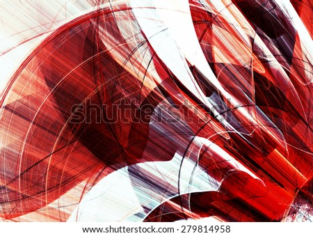 Abstract red and white motion composition. Modern bright futuristic dynamic background for wallpaper, interior, flyer cover, poster, banner, booklet. Fractal art for creative graphic design - stock photo