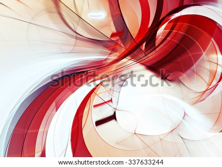 Abstract red and white motion composition. Modern bright futuristic dynamic background for wallpaper, flyer cover, poster, banner, booklet. Fractal art for creative graphic design - stock photo