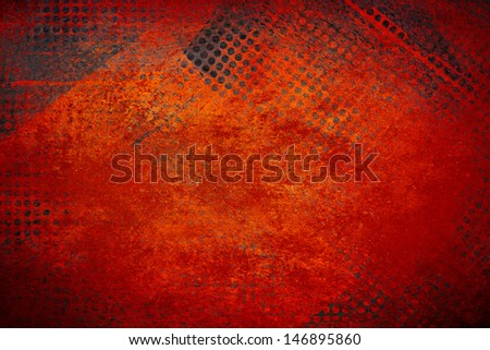 abstract red background grid mesh holes on distressed vintage grunge background texture, black graphic art design border for web banner background sidebar or app background technology or techno design - stock photo