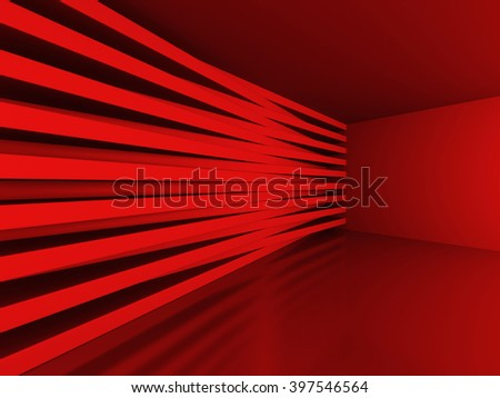 Abstract Red Blocks Wall Background. 3d Render Illustration - stock photo