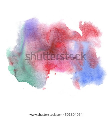 abstract red blue green watercolor splash. Watercolor drop isolated blot for your design