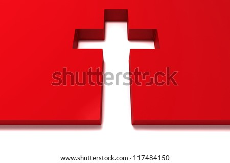 abstract red cross isolated on white background - stock photo