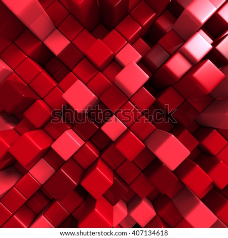 Abstract Red Cube Blocks Wall Background. 3d Render Illustration