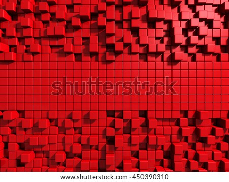 Abstract Red Cube Blocks Wall Background. 3d Render Illustration - stock photo