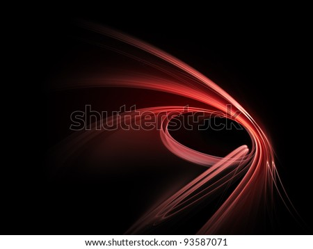 Abstract red design element on black background - stock photo