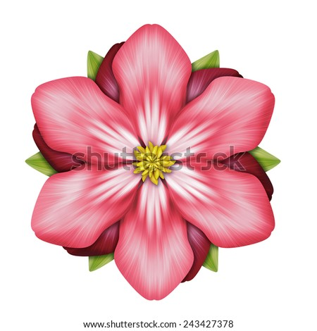 abstract red flower illustration isolated on white background, single design element - stock photo